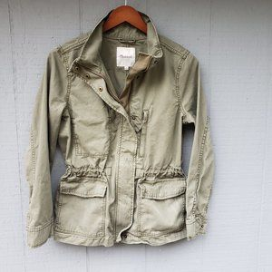 Madewell Utility Jacket Army Green Zip Front Med